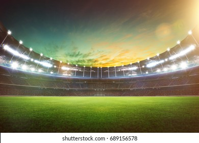 Empty night grand stadium with sport light , evening or night scene .
