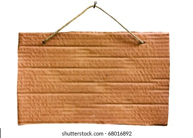 empty notice of cardboard sheet hanging with string and nail, blank signboard isolated, clipping path