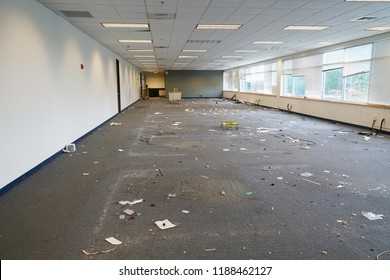 empty office building interior with furniture removed before renovation