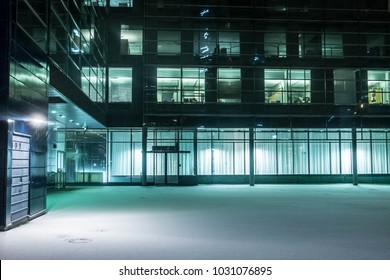 empty office building in winter early in the morning