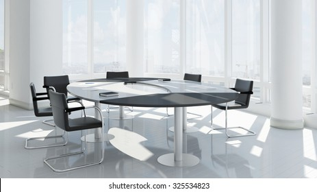 Empty office with chairs and conference table 3D rendering