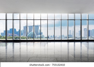 empty office and cityscape of singapore in cloud sky