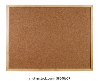 Empty office cork notice board isolated over white background