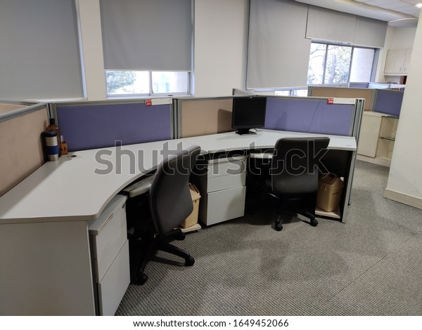 empty IT office cubicles with no people