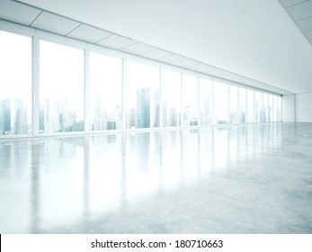 Empty office with large windows