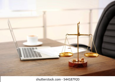Empty office with lawyer workplace