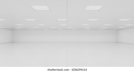empty office room bright white 3d rendering