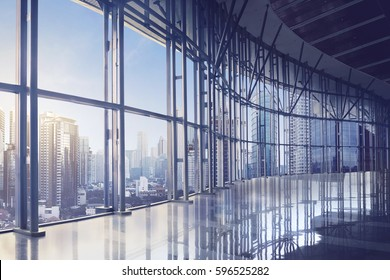 Empty office room on modern building with sunlight