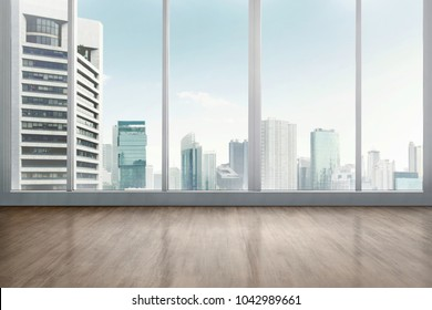 Empty office room with wooden floor with cityscape background