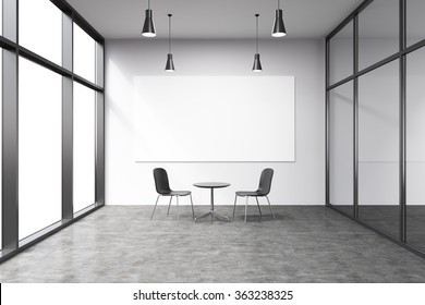 Empty office in a skyscraper, French window to the left, big white board on the white wall. A small black table and two black chairs at the wall, lamps above. Concept of talks.
