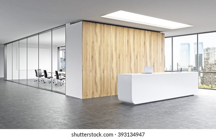 office reception. Empty Office, White Reception At Wooden Wall. Panoramic Window Right, Meeting Room Behind Office
