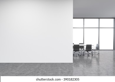 Empty office, white wall in front of panoramic window, table for meetings. Concept of new office. 3D rendering