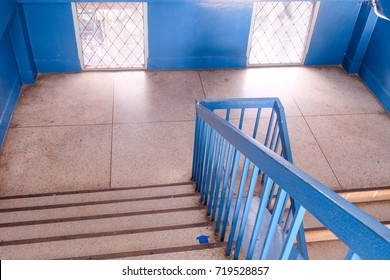 empty office wooden stairs in modern building.