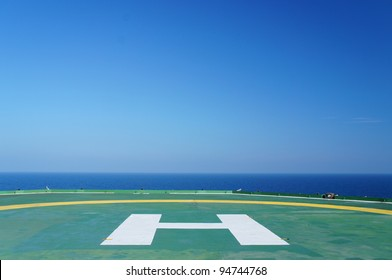 Empty Offshore Rig Helicopter Deck
