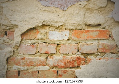Empty Old Brick Wall Texture. Painted Distressed Wall Surface. Grungy Wide Brickwall. Grunge Red Stonewall Background. Abstract Web Banner. Copy Space.