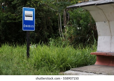 Empty and old bus stop on a small road on the south coast of Brazil.
