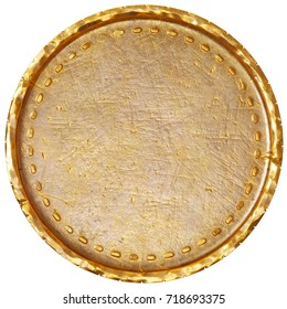 Empty old gold coin with scratches and cracks. 3d rendering.