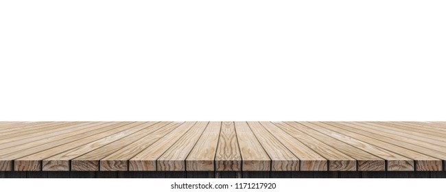 Empty old grunge wood plank table top isolated on white background,Use for display for montage of product and leave space for replace of your background