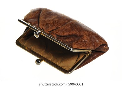 Empty old open brown wallet
