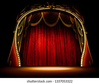 Empty old opera gala theater stage and red velvet curtains
