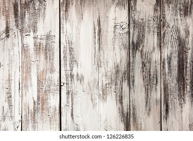 Empty old shabby white painted wooden background