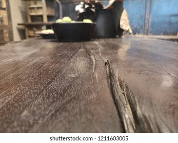 empty old table, suitable for photomontage objects in perspective for presentation