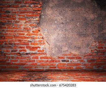 Empty Old vintage brick wall Texture. Grunge Background. Copy Space.
