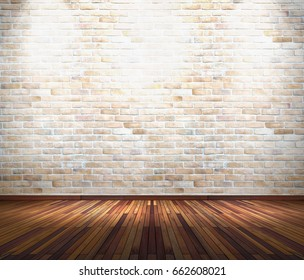 Empty old white brick wall with spot lights and wooden floor