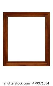 empty old wood frame isolated on white background.