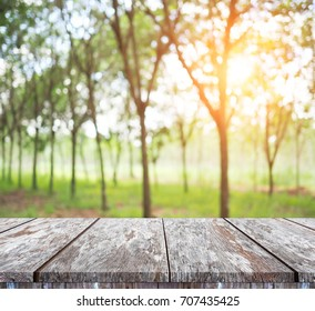 Empty old wood Shelf table with abstract green bokeh on tree nature blur background. for montage of your product