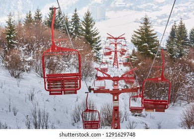 Empty old wooden chairlifts near Brasov city, Romania.