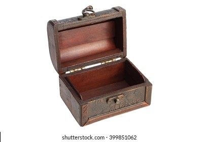 Empty Old wooden chest on white background with Clipping Path