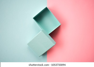 Empty Open Gift Box Blue and Pink Pastel Color Background