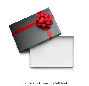 Empty, open gift box isolated on white background with copy space