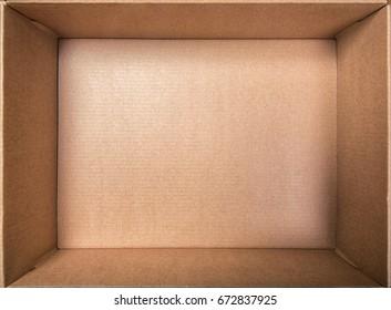 Empty open rectangular cardboard box close up.