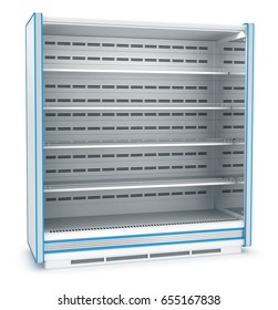 Empty open refrigerated display case. 3d image. Isolated on white.