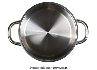 Empty open stainless steel cooking pot top view from above isolated on white background