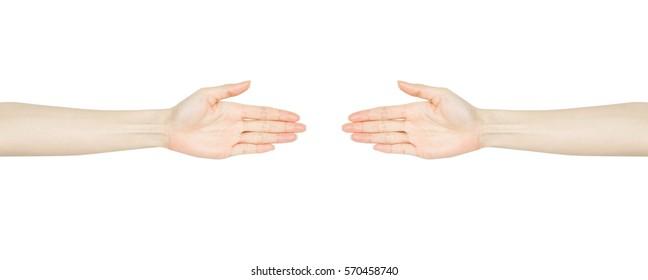 Empty open Woman handshake isolated on white background