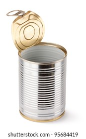 Empty opened tin. Isolated on a white.