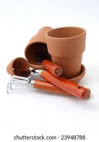 Empty Orange Gardening Pots and Tools