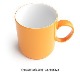 empty orange mug isolated on white background. 3d rendered image