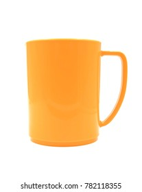 empty Orange plastic cup isolated on white background of file with Clipping Path .