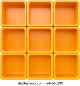 Empty orange plastic shelf. 3d rendering