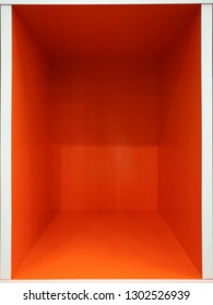 Empty orange room space, Empty box interior for design and decoration - abstract background. square box with blank inner space. Empty copy space perspective view. Photobox inside.