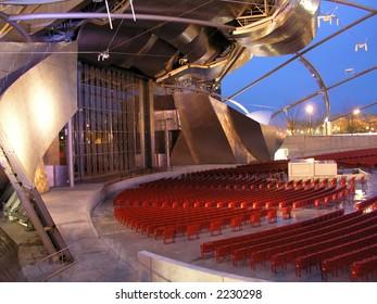 Empty outdoor auditorium at dusk
