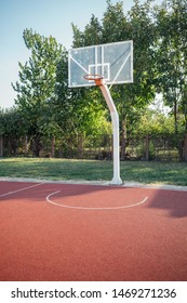 Empty outdoor basketball court with copy space