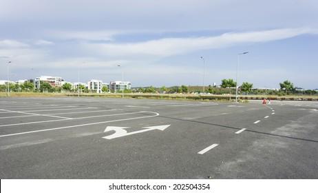 Empty outdoor parking lot