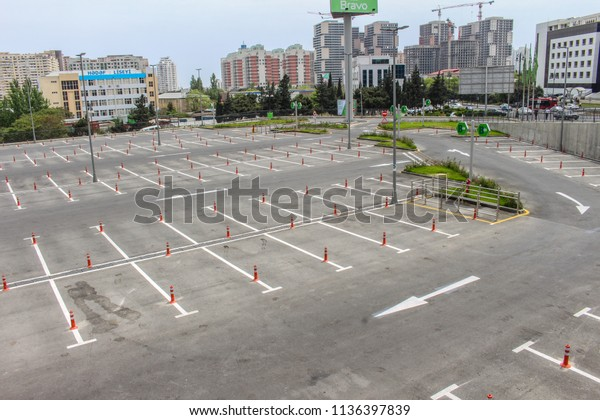 Empty Outdoor Parking Space Lines On Stock Photo (Edit Now) 1136397839