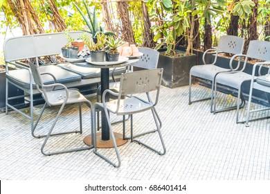 empty outdoor patio in garden