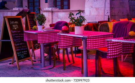 empty outdoor restaurant croatia